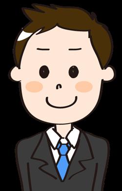 入社式のスーツ男